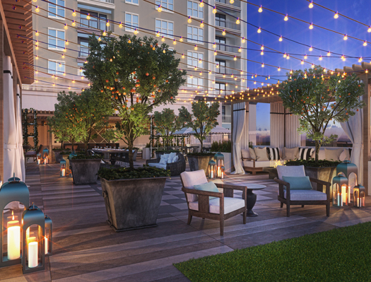 Rendering of the 8th floor patio
