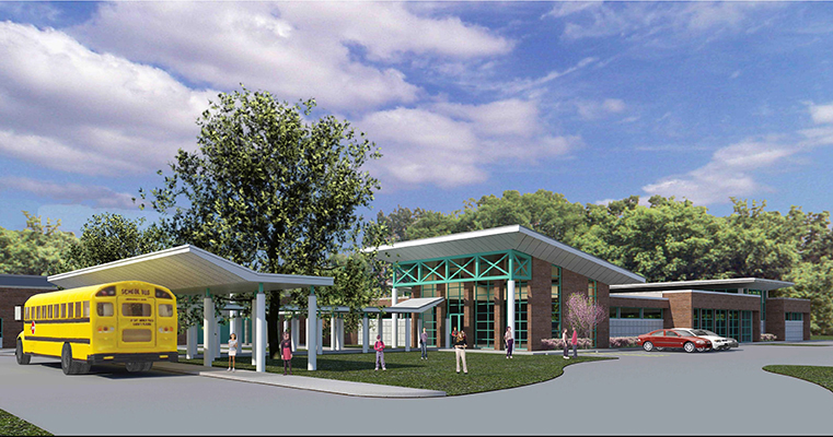 A rendering of the outside of the new Junior Achievement facility.