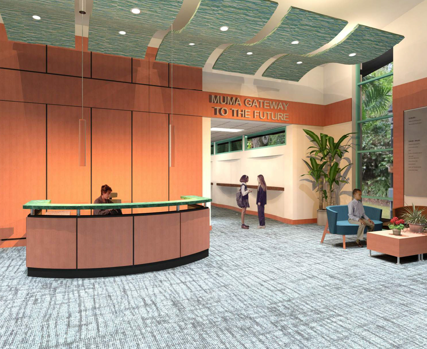 A rendering of the reception area of the new Junior Achievement facility.