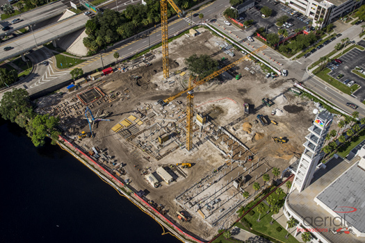 An aerial view of the former site of The Tampa Tribune.