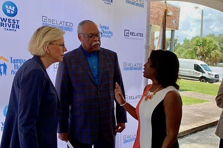 Tampa Mayor Jane Castor, CEO Jerome Ryans of the Tampa Housing Authority, and Alesia Scott-Ford of HUD's regional office in Jacksonville.