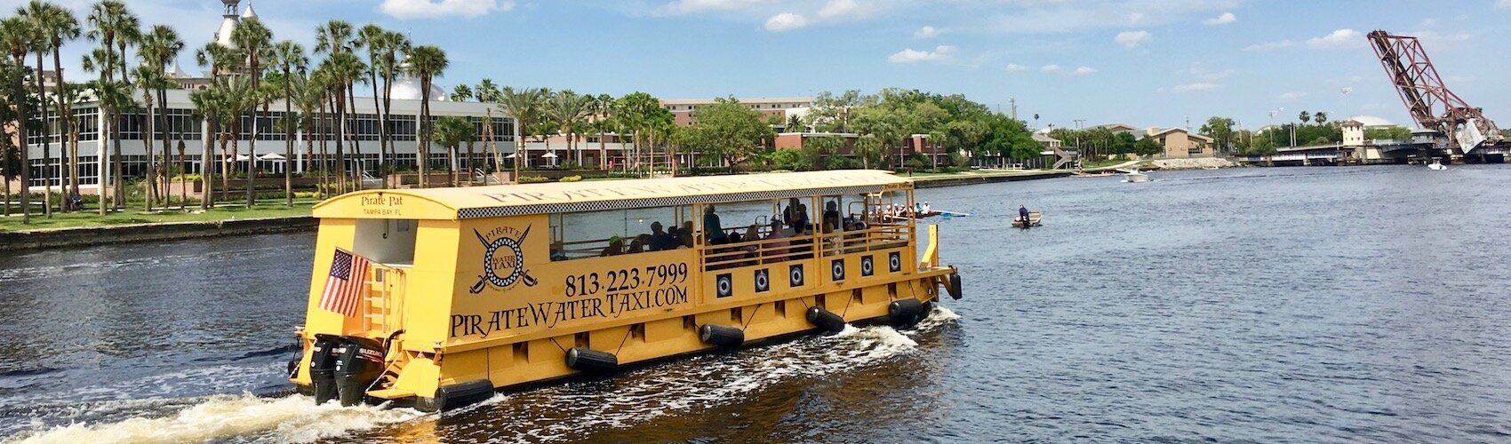Pirate Taxi makes 15 stops along Tampa Riverwalk in the Channel District, Harbour Island, and Davis Islands.