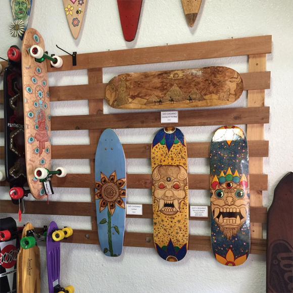Wood burned skateboards by Giovanni Casiano at Flash Point Pyrography.