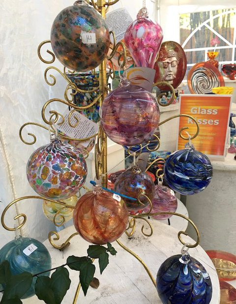 Blown glass ornaments at Phoenix Studio and Gallery.