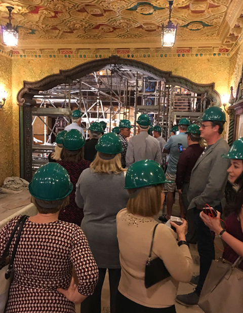 Cafe con Tampa group tours construction underway at Tampa Theatre.