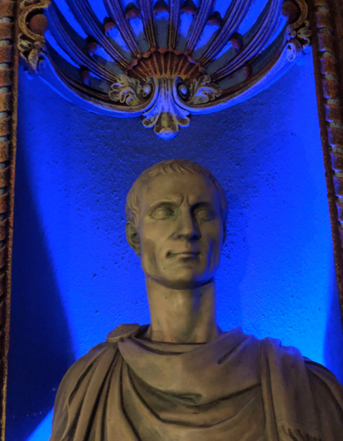 One of many marble busts adorning Tampa Theatre.