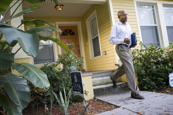 Jerel McCants leaves his West Tampa bungalow to start the day. - Julie Busch