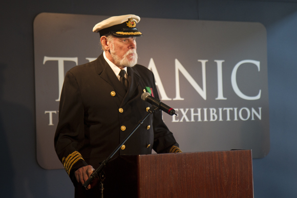 Lowell Lytle aka Capt. John Smith addresses a crowd at the opening of  Titanic: The Artifact Exhibi