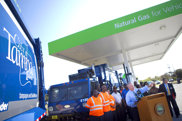 Mayor Buckhorn introduces Tampa's fleet of CNG vehicles. - Julie Branaman