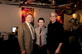 President Dr. Larry Thompson, Elijah Wood and Animation Dept. Head Jim McCampbell