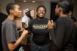 (L-R) Alex Glover, Monique Harris, Bria McGrady at an ANYTOWN meeting. - Julie Branaman