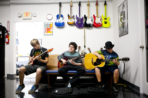 (L-R) RJ Keeling, Jamie Loomas and Alex Bonyata practice at St Pete Music Factory. - James Branaman
