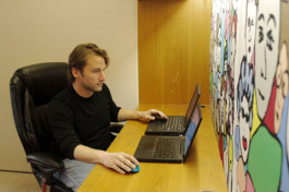 Mitch Neff, newly appointed Global Director of the StartupBus, works in his office at Tampa Bay WaVe