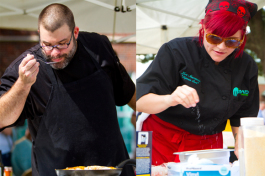 Chef Chad McColgm and Chef Lori Staczewicz battle it out during the first annual Chef-Off. James Bra