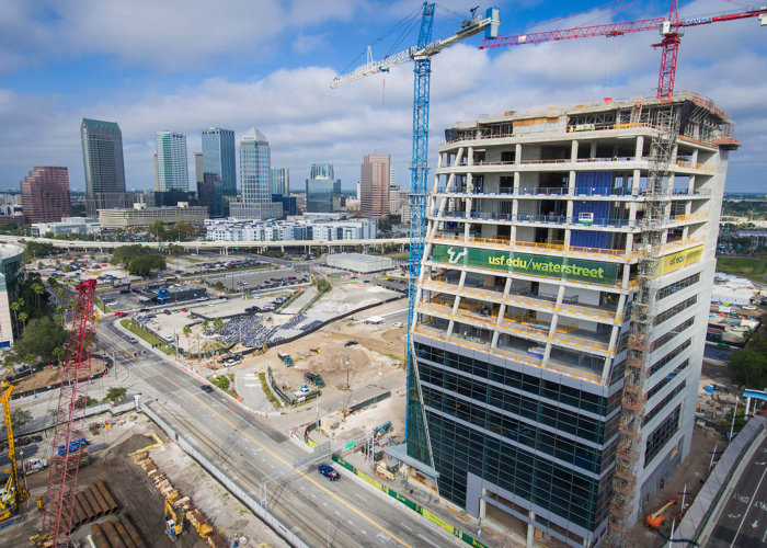 The 13-story, 395,000-square-foot facility, scheduled to open in late 2019, is a key anchor for Water Street Tampa, a $3-billion real estate development by Strategic Property Partners.