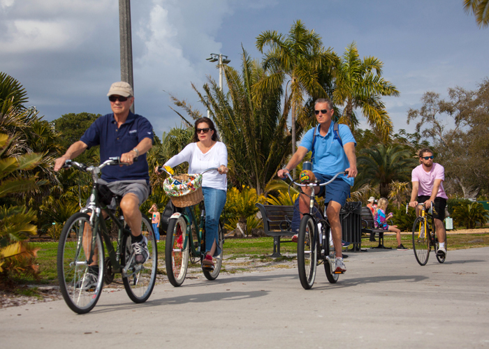 Cyclists along the boardwalk near the palm tree botanical gardens at Vinoy Park in St. Pete.