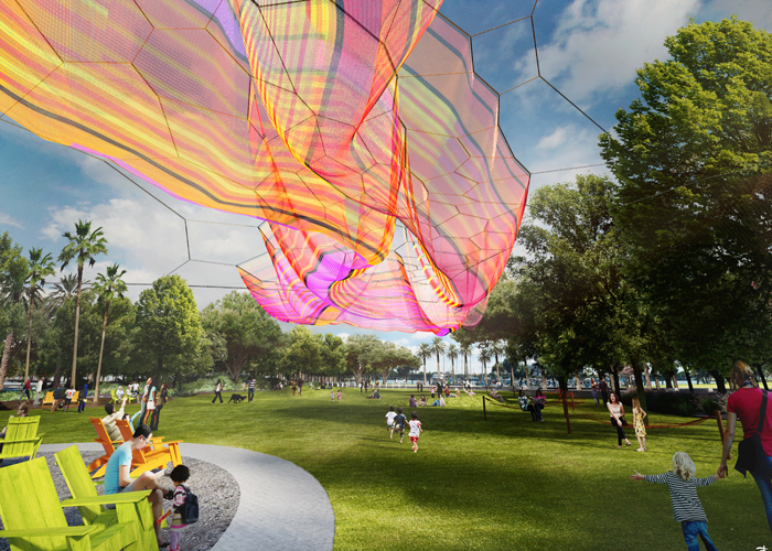 "An artist's rendering of ""Bending Arc,"" the aerial sculpture that Tampa native and renowned artist Janet Echelman is creating for the new St. Petersburg Pier."