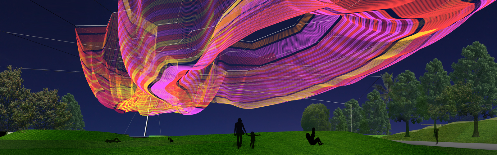 A rendering of Janet Echelman's Bending Arc for the new St. Petersburg Pier.  <span class='image-credits'>Courtesy of Studio Echelman</span>
