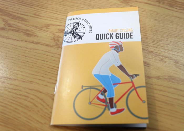 Smart Cycling booklets were passed out to bike safety class attendees at the Straz Center, a business committed to be bike friendly.