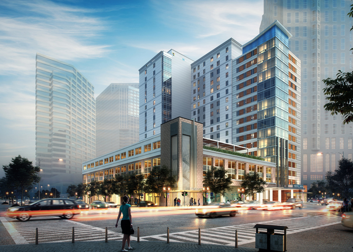 Renderings of the dual-branded Hyatt House and Hyatt Place that HRI Properties is developing in downtown Tampa.
