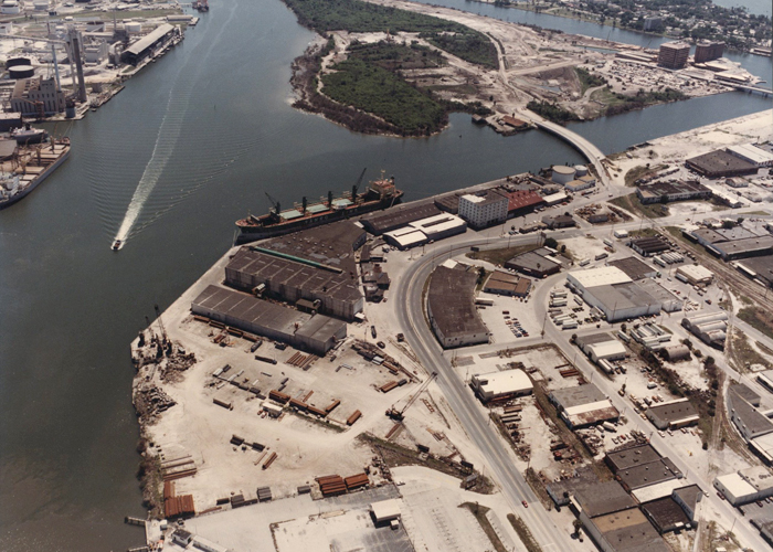 The Ybor Channel and Channel District looking south in the mid 1980's.