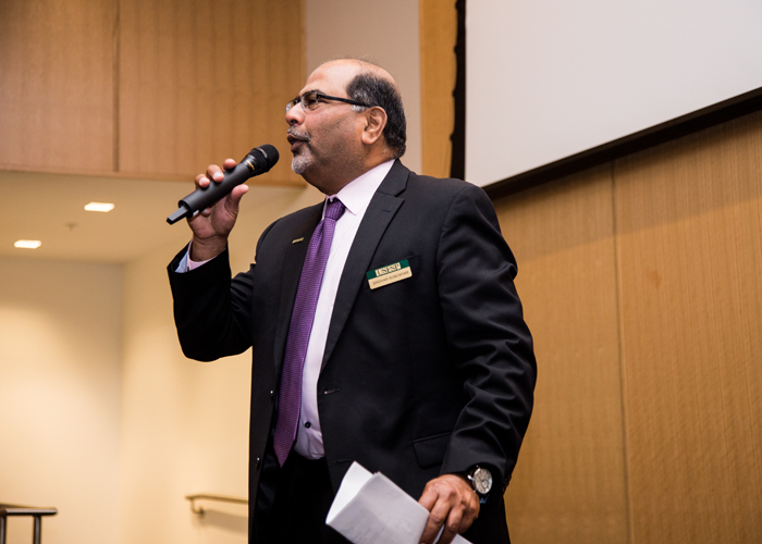 Dr. Sridhar Sundaram, dean of the USFSP Kate Tiedemann College of Business, addresses the crowd.