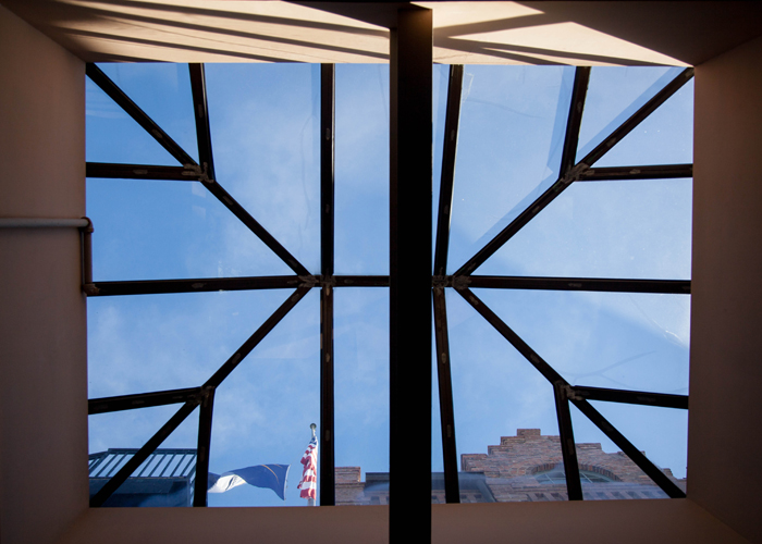 A skylight inside the brewery.