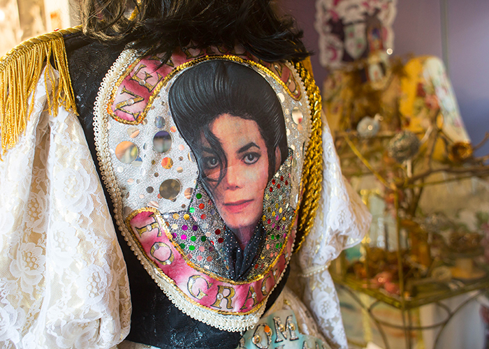 A costume honoring Michael Jackson made by  Janna Kennedy-Hyten of the Artist Enclave of Historic Kenwood.