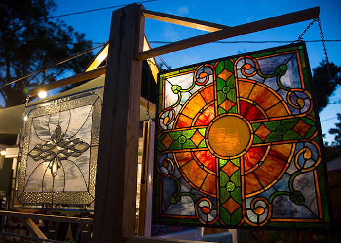Stained glass pieces made by artist Michael Baker, liaison of the Artist Enclave of Historic Kenwood.