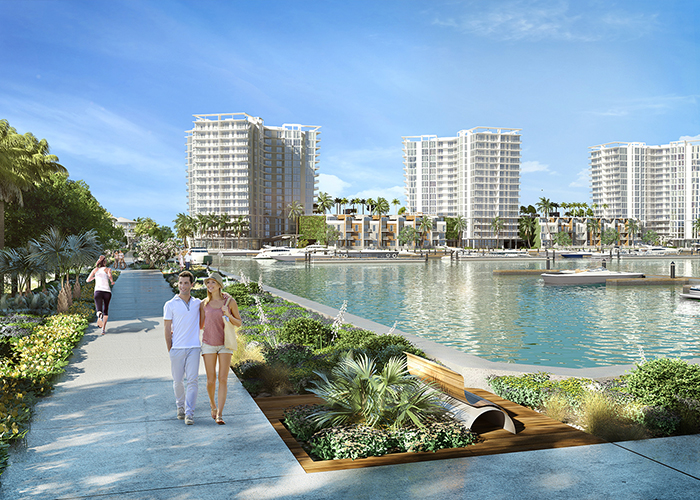 Boardwalk rendering of the new Westshore Marina District.