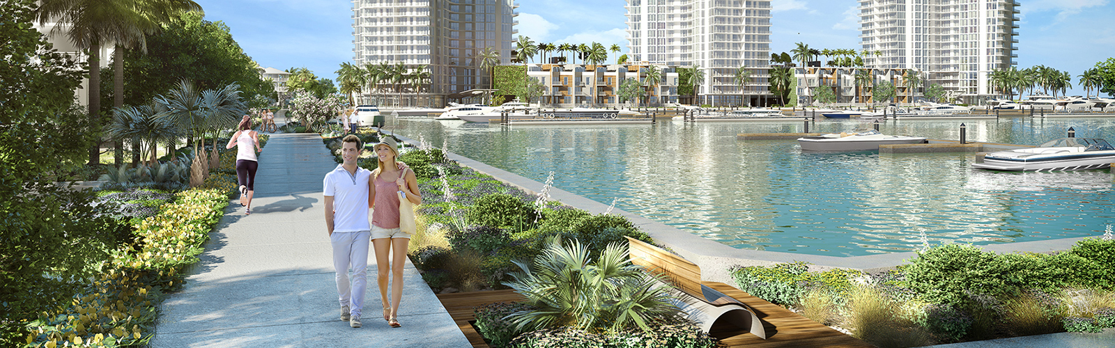 An artist's rendering of future retail development at the Westshore Marina District