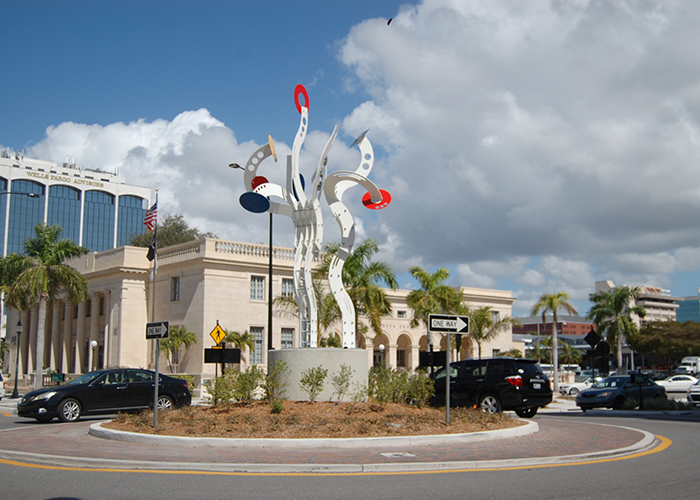 "Downtown Sarasota's second piece of roundabout art, ""Bravo!,"" was selected from over 160 proposals."