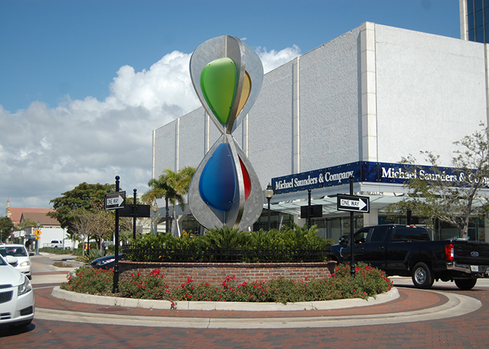 """Embracing Our Differences"" was the first piece of roundabout art placed in Sarasota, installed in April, 2016."