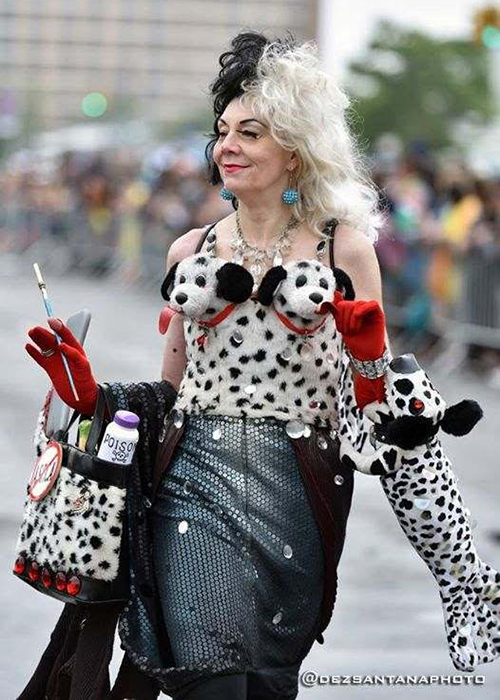 Janna Kennedy-Hyten, a member of AEHK, dressed as Cruella de Vil from 101 Dalmations.