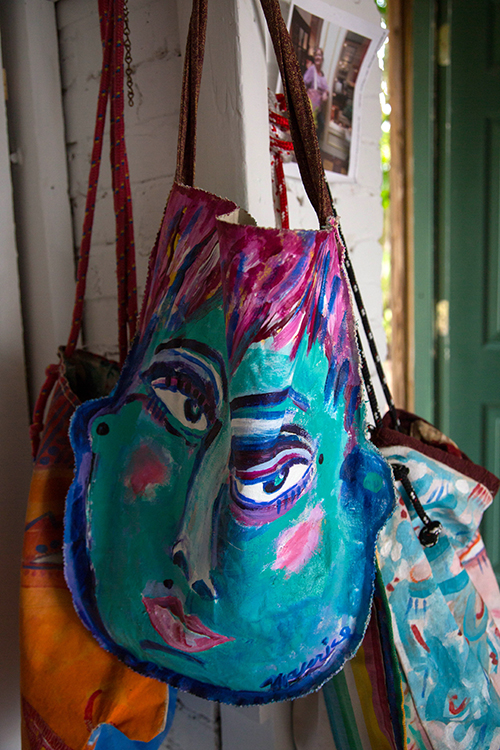 Hand painted canvas bags by Maurice Bartikofsky.