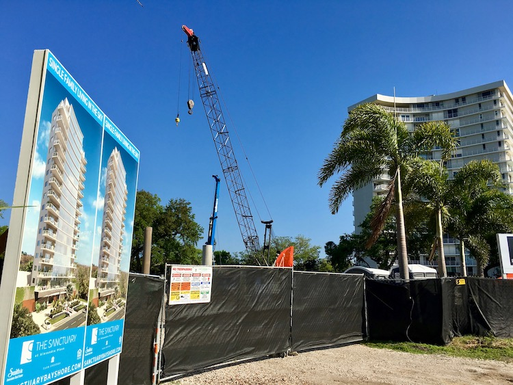 Site of new construction of The Sanctuary at Alexandra Place on Bayshore Boulevard in Tampa.