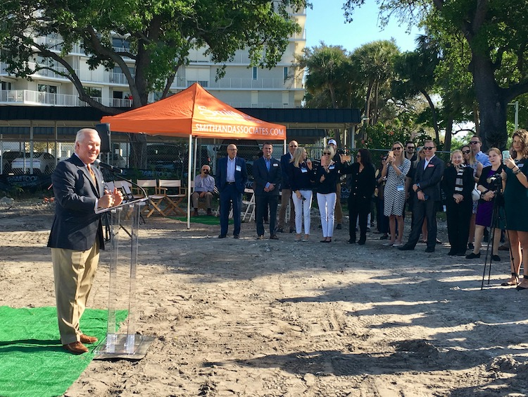 Mayor Bob Buckhorn greets a crowd gathered for groundbreaking at The Sanctuary at Alexandra Place condos.