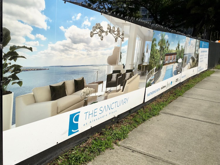 Signage in front of site of The Sanctuary at Alexandra Place condos on Bayshore Boulevard in Tampa.