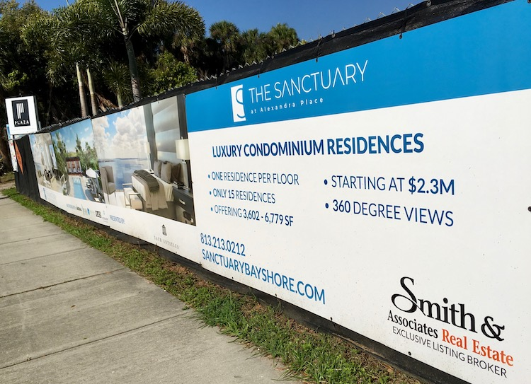 Condos start at $2.3M at The Sanctuary at Alexandra Place on Bayshore Boulevard in Tampa.