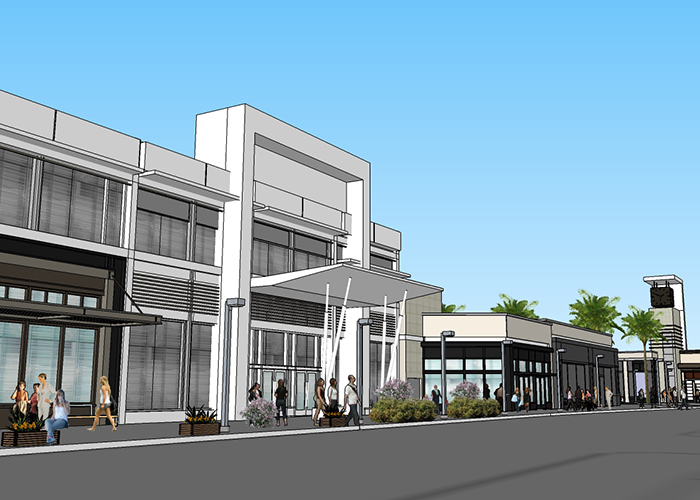 Renderings of future retail and office facades at the site formerly occupied by JCPenney at Uptown Tampa.