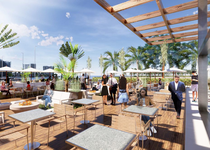 Restaurant rendering at the Westshore Marina District.