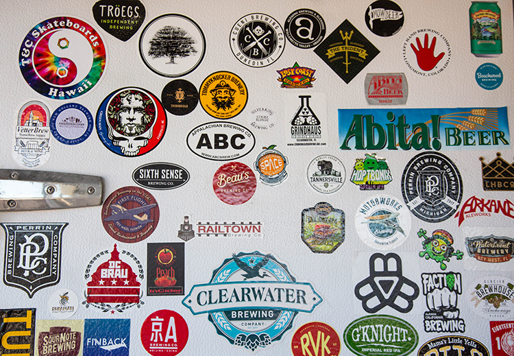 Stickers for music and beer lovers at Clearwater Brewing Company.