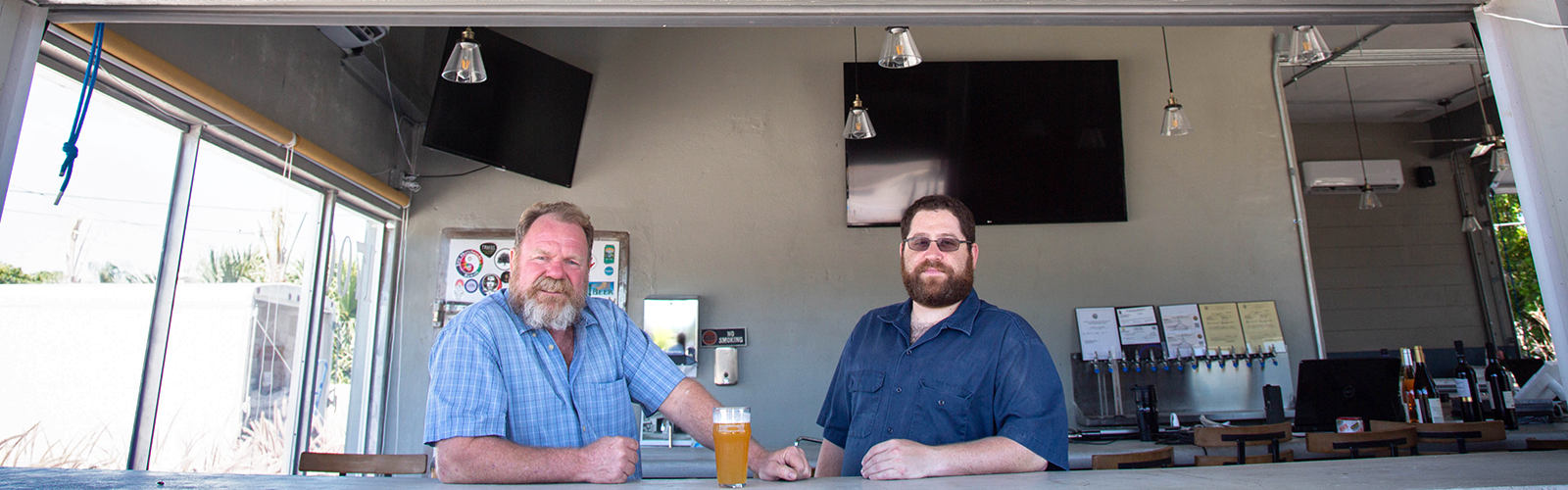 Howard Shirley and Aaron Barth at Clearwater Brewing Company, set to open this Saturday.