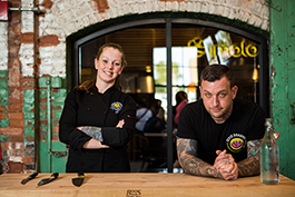 Ashley Simmons and Shaun Noonan with the popular Orlando vegan restaurant Dixie Dharma, now at Armature Works.