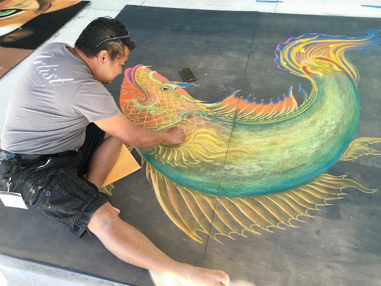 Chalk artist does his thing in downtown Tampa.