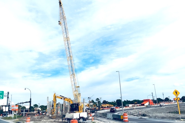 Cranes hover over Dale Mabry and Gandy as construction of a new hurricane evacuation route continues.