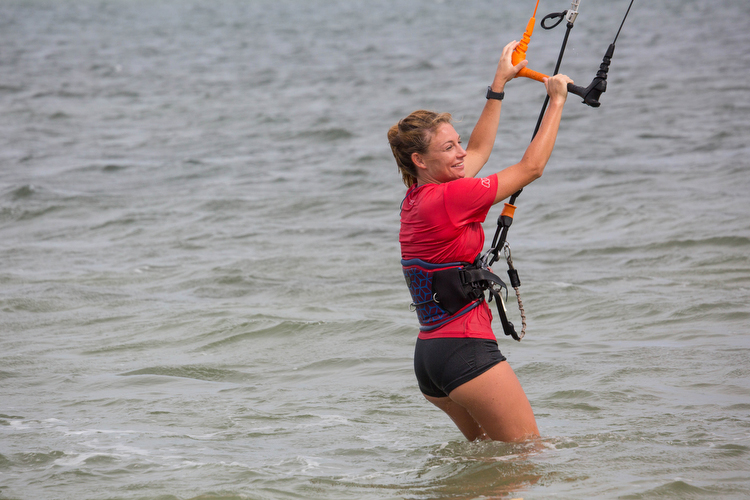 Rebecca Wilcox kiteboards at Skyway Bridge West.