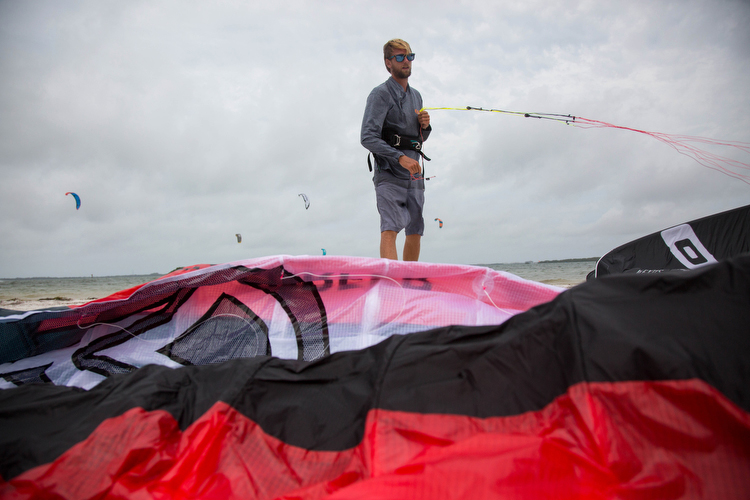 Dave Tichman of Elite Watersports in St. Pete preps to give kite surfing lessons.