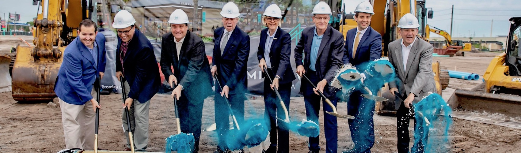 Local dignitaries led by Tampa Mayor Jane Castor break ground on Midtown development by Bromley Companies.