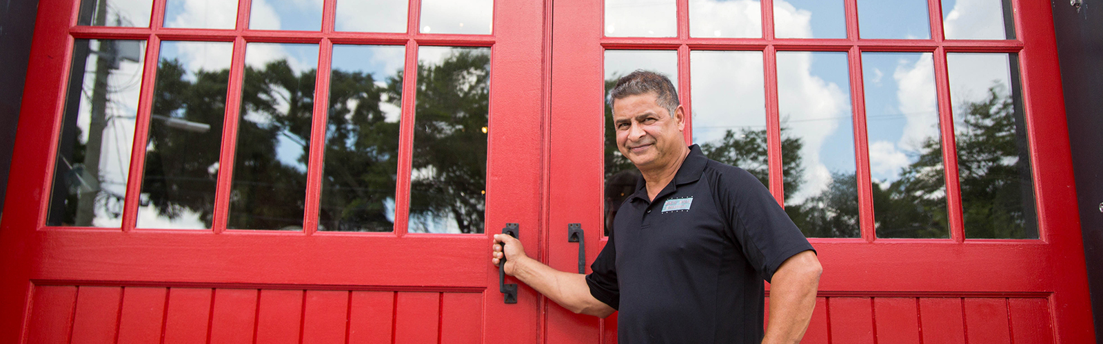Dominique Martinez at his event space Red Door No. 5 in Tampa Heights.